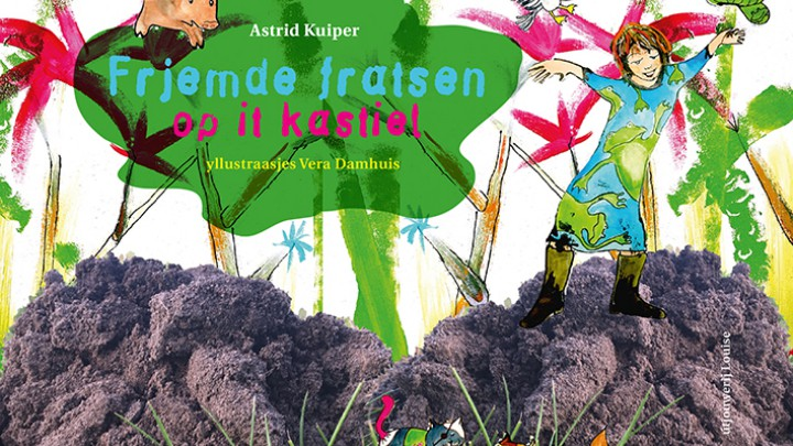 De cover van 'Frjemde fratsen op it kastiel'. De illustraties zijn van oud-Grouster Vera Damhuis.