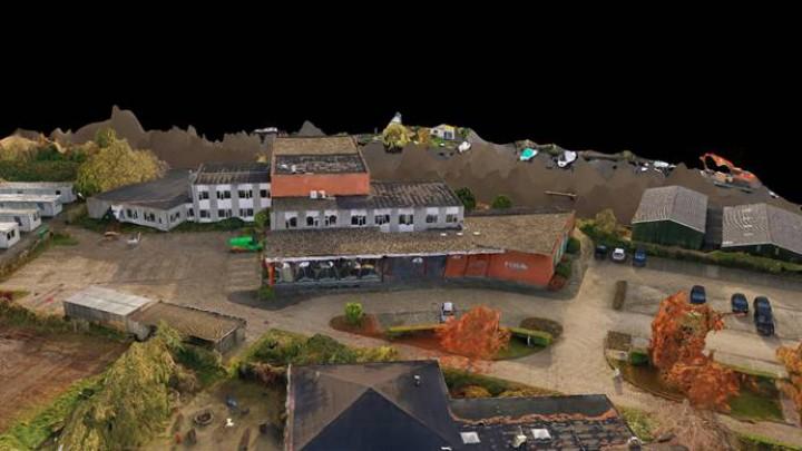 Met de drone gemaakte 3D-opname van het FUMO-gebouw in Grou.