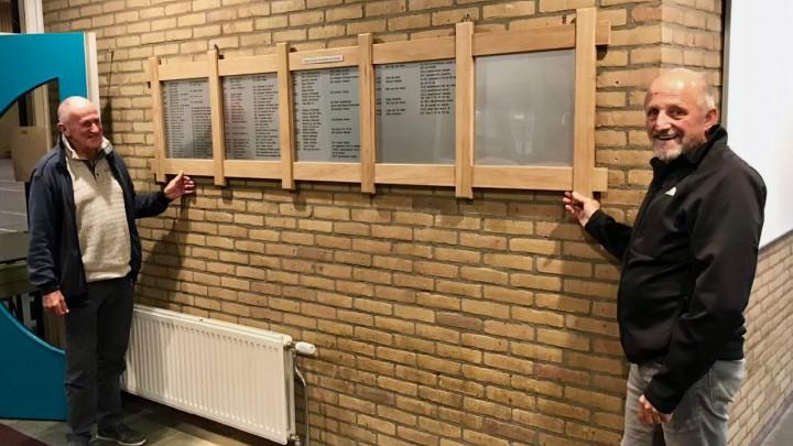 Emiel Wegman en Jan van der Laag van Sportcentrum Grou bij het nieuwe bord met sportkampioenen.