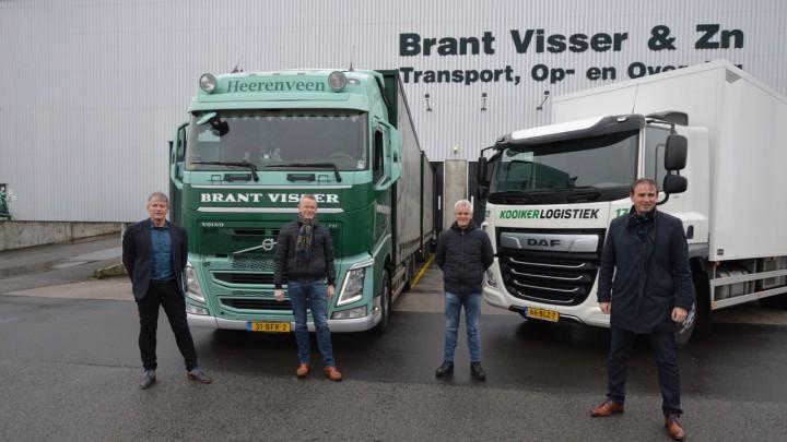 Brant, Kees en Sijtze Visser en René Visser (rechts) van Kooiker Logistiek.
