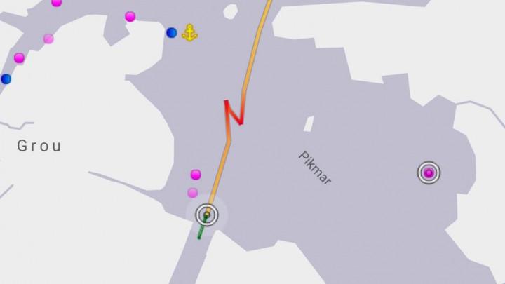 De manoeuvres van La Providence op de Pikmar (in rood) zijn goed te zien. (Schermafbeelding: marinetraffic.com)
